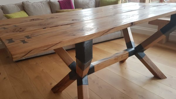 3 oak board table with metal bracket legs