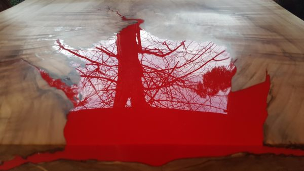 Red flame effect table top garden table
