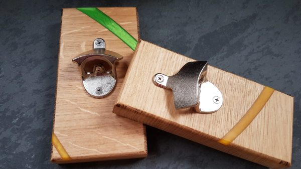 bespoke resin treated wooden bottle openers