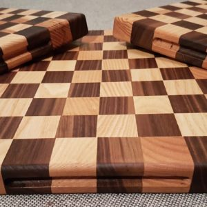 chequered chopping boards