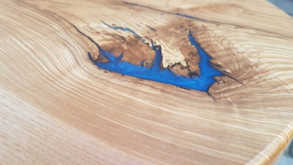 Ripple Ash Coffee Table Close Up of Blue Resin