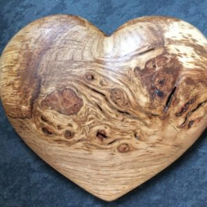 Wooden Heart Blue Background