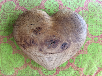Wooden Heart Green Background